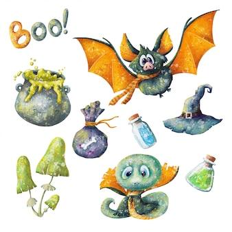 Ręcznie rysowane kreskówka zestaw halloween