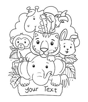 Ręcznie rysowane kreskówka zwierzęta doodle