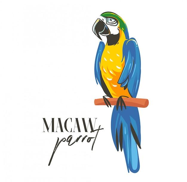 Ręcznie rysowane kreskówki czas letni graficzny dekoracja ilustracje sztuki z egzotycznym tropikalnym lasem deszczowym papuga ara ptak na białym tle