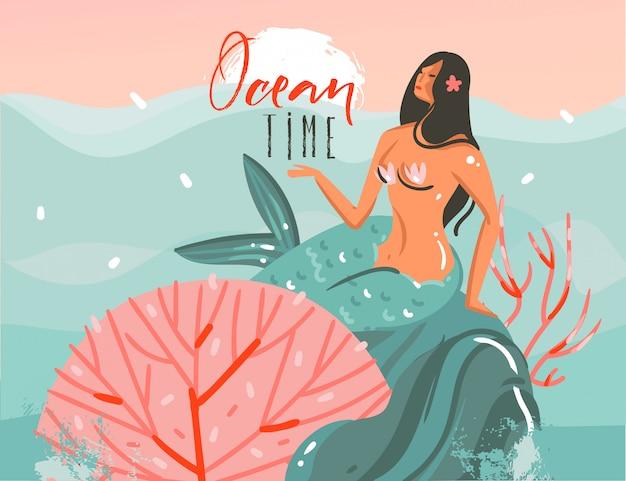 Ręcznie rysowane kreskówki czas letni ilustracje graficzne sztuki szablon tło z ocean zachód scena, piękna syrenka i czas oceanu cytat na białym tle