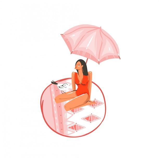 Ręcznie rysowane kreskówki czas letni ilustracje graficzne sztuki z ptakiem frajer i piękna dziewczyna pod różowym artystycznym parasolem na macie na białym tle
