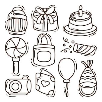 Ręcznie rysowane kreskówki doodle elementy urodzinowe kolorowanki kolekcji