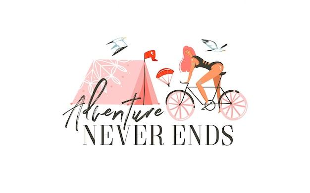 Ręcznie rysowane kreskówki letnie ilustracje graficzne z dziewczyną jeżdżącą na rowerze, namiot kempingowy i nowoczesną typografią cytat przygoda nigdy się nie kończy