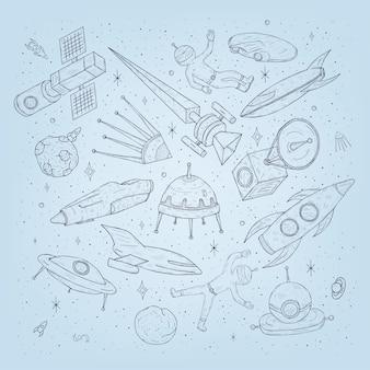 Ręcznie rysowane kreskówkowe planety kosmiczne, promy, rakiety, satelity, kosmonauta i inne elementy