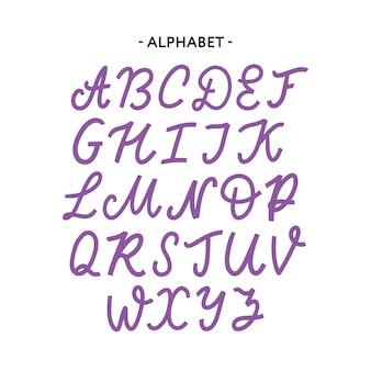 Ręcznie rysowane krój pisma zestaw na białym tle
