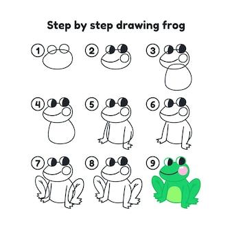 Ręcznie rysowane krok po kroku rysunek żaby