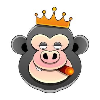 Ręcznie rysowane król małp kolorowanki. pień ilustracja na białym tle. do projektowania, dekoracji, logo.