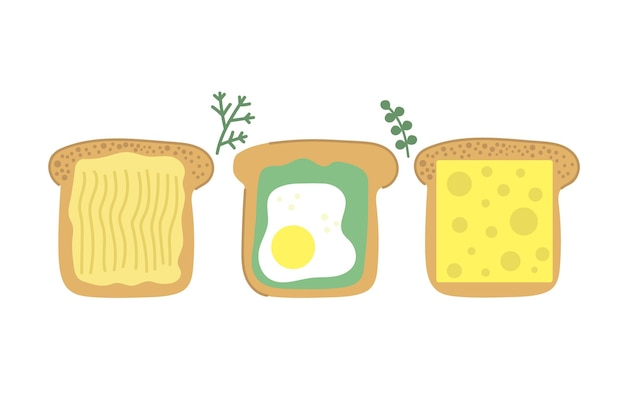 Ręcznie rysowane kromka chleba smaczny tost z awokado smażonym na maśle i serem