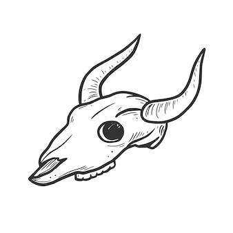 Ręcznie rysowane krowa, element czaszki byka. komiks doodle styl szkicu. kowboj, ikona zachodniej koncepcji. ilustracja na białym tle wektor.