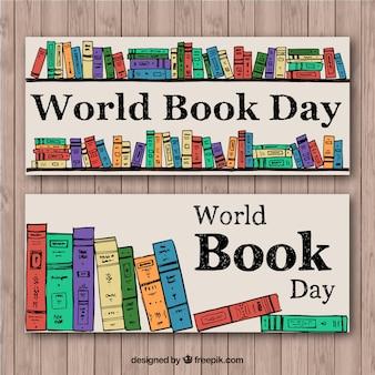 Ręcznie rysowane książek kolorowe banery