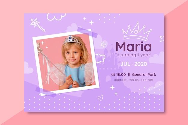 Ręcznie rysowane księżniczka urodziny zaproszenie ze zdjęciem
