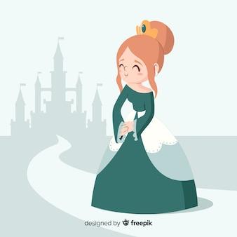 Ręcznie rysowane księżniczka z zieloną sukienkę