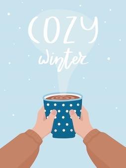 Ręcznie rysowane kubek kakaowy i napis cozy winter