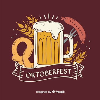Ręcznie rysowane kubek piwa oktoberfest