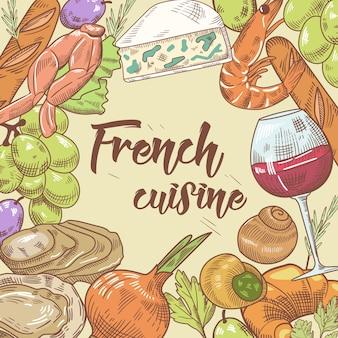 Ręcznie rysowane kuchni francuskiej