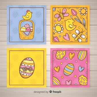 Ręcznie rysowane kurczak wielkanocny kolekcja kart