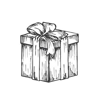 Ręcznie rysowane kwadratowe pudełko na prezent gwiazdkowy ze wstążką ilustracja wektorowa abstrakcyjny szkic zima ...
