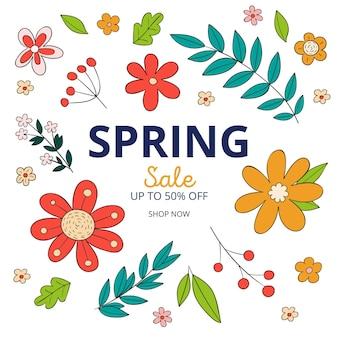 Ręcznie rysowane kwadratowy baner sprzedaży wiosny z kwiatem