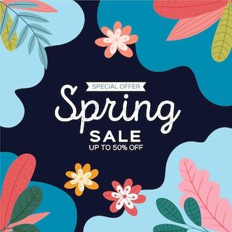 Ręcznie rysowane kwadratowy baner sprzedaży wiosny z rozkwicie
