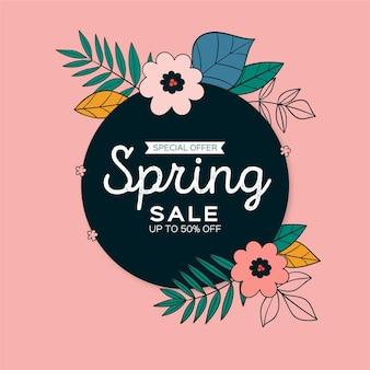 Ręcznie rysowane kwadratowy baner sprzedaży wiosny