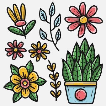 Ręcznie rysowane kwiat doodle projekt