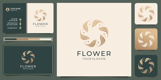 Ręcznie rysowane kwiat kobiecej urody i okrągłe logo botaniczne koncepcji do pielęgnacji skóry salonu spa z szablonem wizytówki. wektor premium
