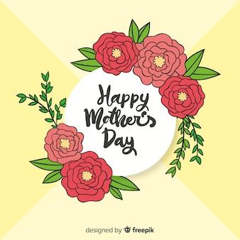 Ręcznie rysowane kwiat rama tło dzień matki