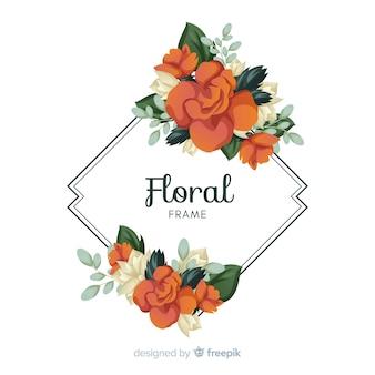 Ręcznie rysowane kwiat rama tło