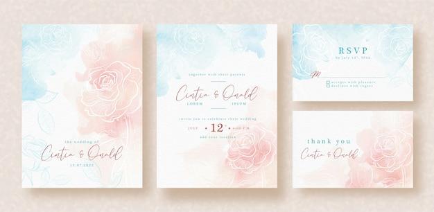 Ręcznie rysowane kwiat róży na szablonie karty ślubu tło powitalny