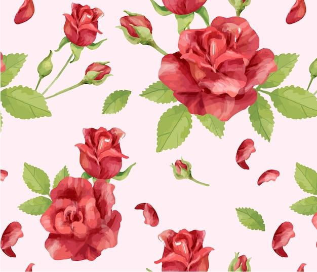 Ręcznie rysowane kwiat róży wzór
