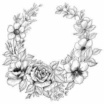 Ręcznie rysowane kwiat szkic ozdobny projekt ramy