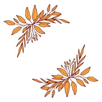 Ręcznie rysowane kwiat wieniec botaniczny