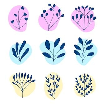 Ręcznie rysowane kwiatowe elementy dekoracyjne