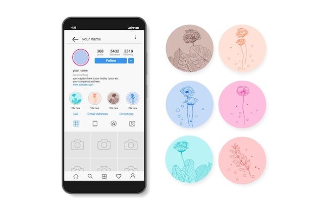 Ręcznie rysowane kwiatowe historie na instagramie.