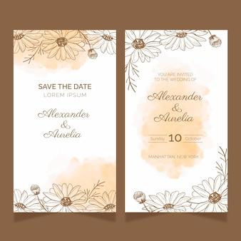 Ręcznie rysowane kwiatowe karty ślubne
