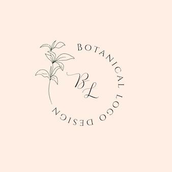 Ręcznie rysowane kwiatowe logo w stylu minimalistycznej sztuki