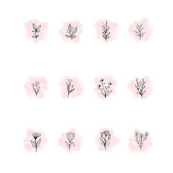 Ręcznie rysowane kwiatowe pasemka