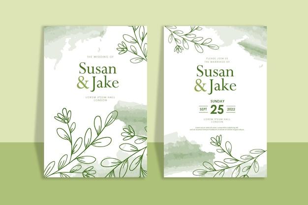 Ręcznie rysowane kwiatowe zielone zaproszenia ślubne akwarela tła
