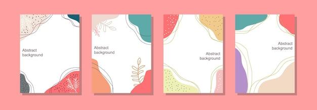 Ręcznie rysowane kwiatowy abstrakcyjna karta do postu i plakatu w mediach społecznościowych