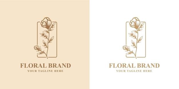 Ręcznie rysowane kwiatowy botaniczny ramka logo