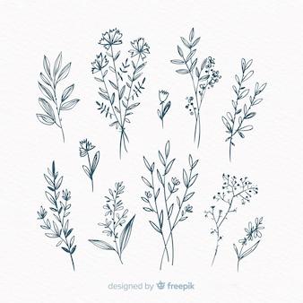 Ręcznie rysowane kwiatowy element ozdobnych opakowanie