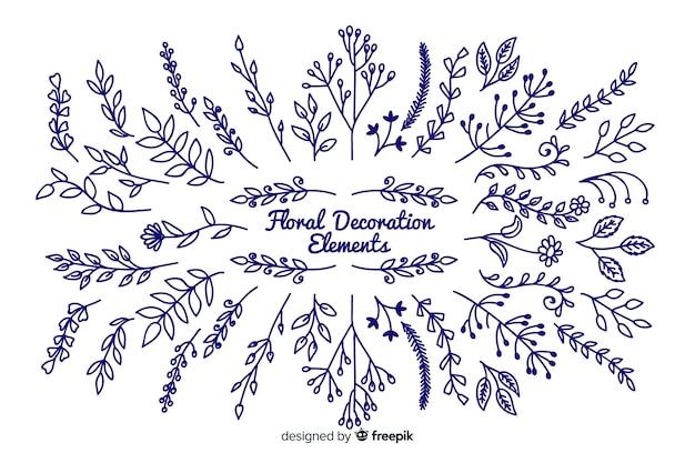 Ręcznie rysowane kwiatowy elementy dekoracyjne