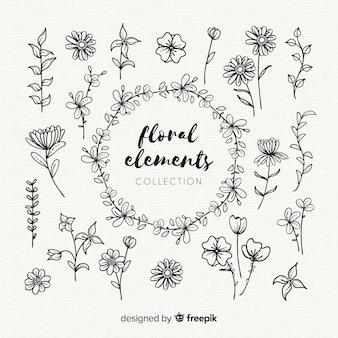 Ręcznie rysowane kwiatowy elementy ozdobne