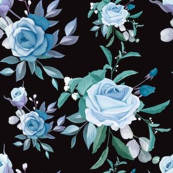 Ręcznie rysowane kwiatowy i liści wzór wzór