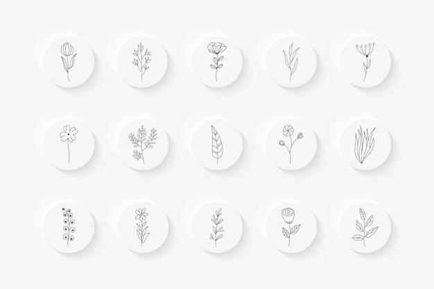 Ręcznie rysowane kwiatowy instagram podkreśla kolekcję