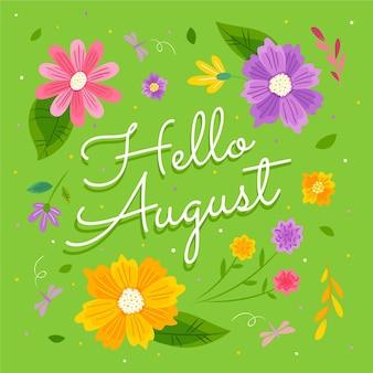 Ręcznie rysowane kwiatowy napis sierpnia