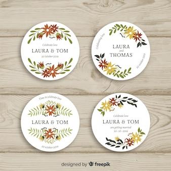 Ręcznie rysowane kwiatowy odznaki wesele kolekcja