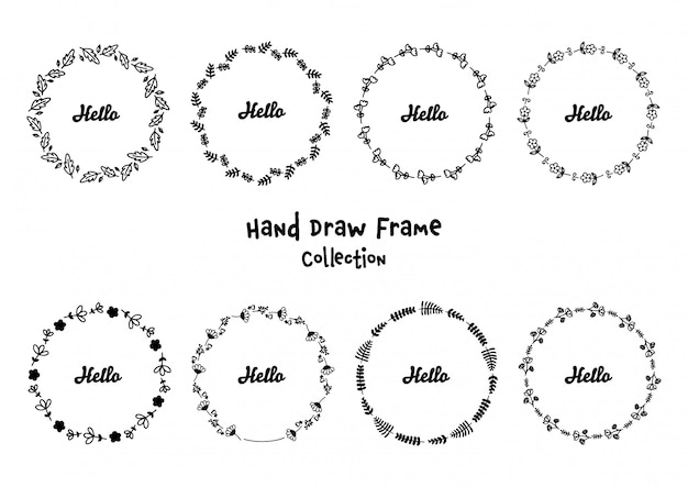 Ręcznie rysowane kwiatowy okrągłe ramki ustawione