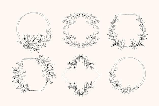 Ręcznie rysowane kwiatowy pakiet ramek