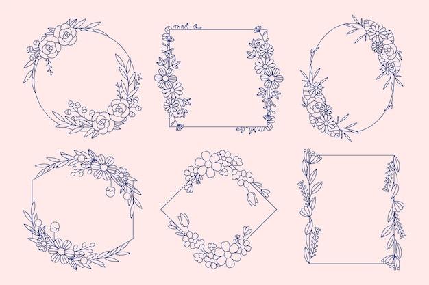 Ręcznie rysowane kwiatowy pakiet ramki